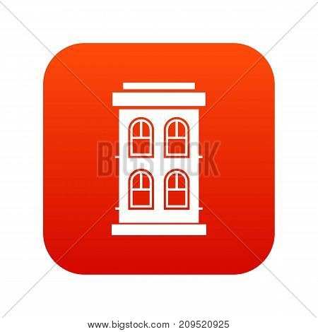 Two-storey house with large windows icon digital red for any design isolated on white vector illustration