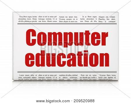 Education concept: newspaper headline Computer Education on White background, 3D rendering