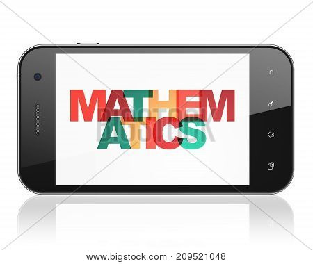 Learning concept: Smartphone with Painted multicolor text Mathematics on display, 3D rendering