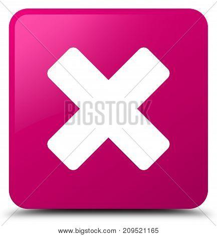 Cancel Icon Pink Square Button