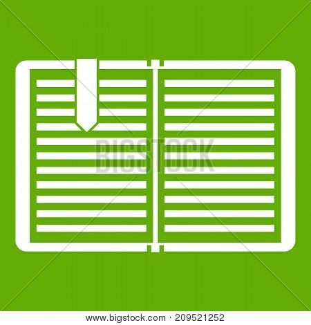 Open book with red bookmark icon white isolated on green background. Vector illustration