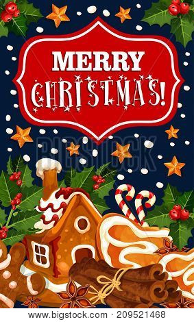 Merry Christmas greeting card of gingerbread cookie house and winter cinnamon. Vector golden and holly wreath decoration on Christmas tree and candy snowflakes background for seasonal holiday