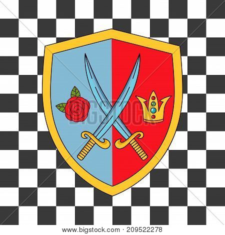 Coat of arms with swords rose and crown doodle colorful vector