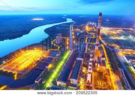 Industrial zone. Industrial factory.The top view.Industrial facilities heavy industry at night.