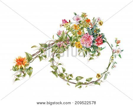 watercolor painting of leaves and flowers on white background