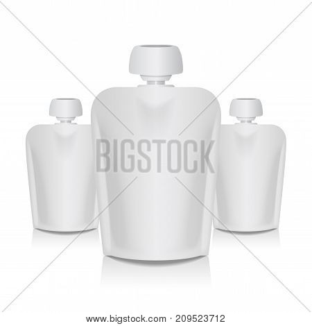 Set of Blank Flexible Pouch With Big Top Cap For Baby Puree. Food Or Drink White Bag Packaging Template for your design