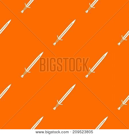 Long sword pattern repeat seamless in orange color for any design. Vector geometric illustration