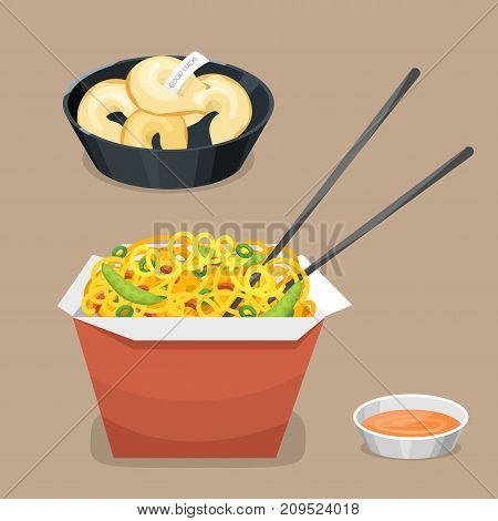Chinese tradition food dish dumpling delicious cuisine healthy dinner meal asia gourmet china lunch breakfast cooked vector illustration. Spicy meat chopsticks pork soup plate dish.