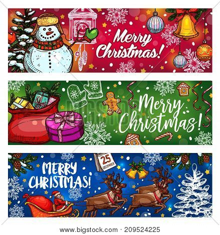 Christmas sketch banner for winter holiday. Xmas tree, snowman and gift bag, Santa sleigh with reindeer card design, adorned with bell, candy and snowflake, ball, gingerbread cookie and calendar