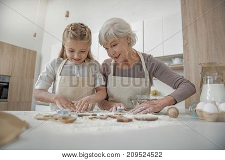 Low angle of excited child preparing cookies together with her grandmother. They are standing near table and smiling