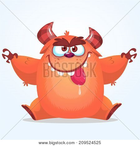 Cute cartoon monster. Vector fat monster mascot character. Halloween design for party decoration print or children book