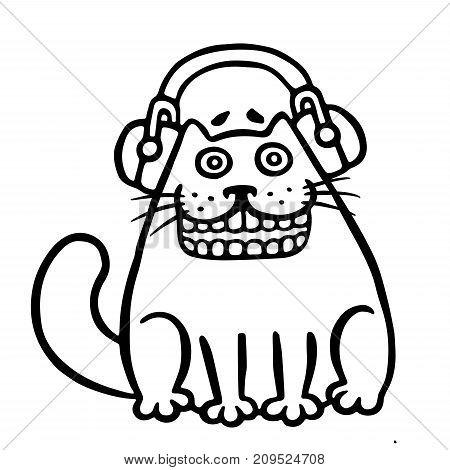 Cute cat in headphones. Funny cartoon character. Vector illustration.