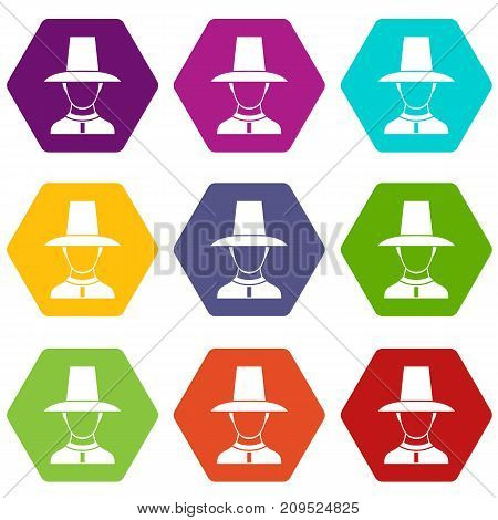 Korean soldier in historic uniform icon set many color hexahedron isolated on white vector illustration