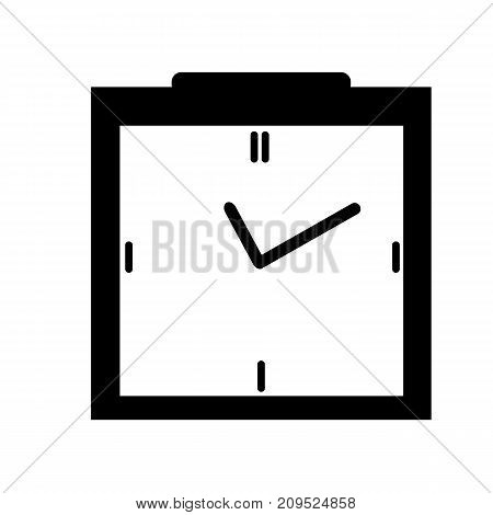 Clock icon in black box style, timer on isolated background. Vector design element