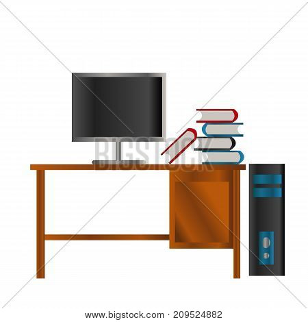 red blue black book and lcd screen on the wooden table and black and blue box pc
