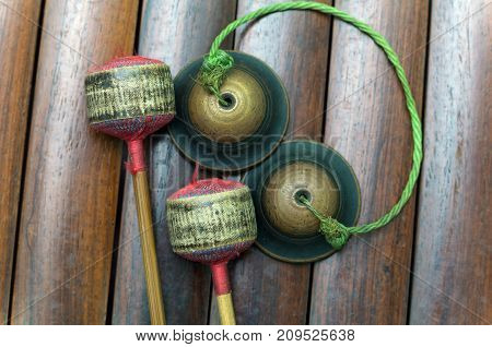 Closeup Thai musical instrument (Alto xylophone) with castanets asian instrument