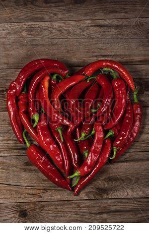 Heart Shape By Red Pepper