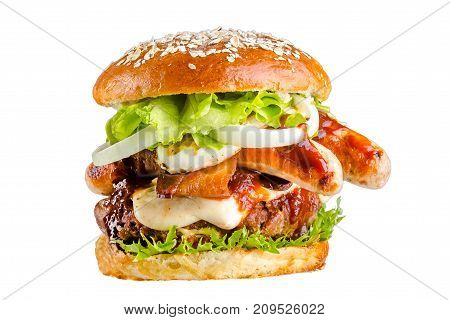 Crispy burger with bread, sausage, sausages, tomatoes sauce, flowing mozzarella melted fried yellow cheese, flakes seeds, juicy meat, pork meat steak, tomatoes, lettuce leaves,isolated on white background