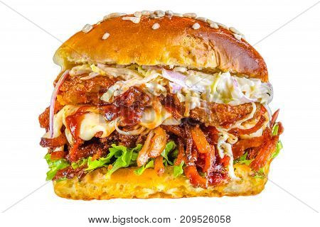 Crispy crisp bread burger, tomato sauce, mozzarella cheese, onion rings, greens, sesame seeds, juicy meat, pork meat steak, tomatoes, lettuce leaves Crispy crust bread burger, tomato sauce, mozzarella