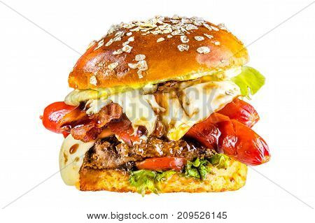 Crispy burger, bread, tomatoes sauce, flowing mozzarella sausages, melted fried yellow cheese, flakes seeds, juicy meat, pork meat steak, lettuce leaves, Isolated on white background.