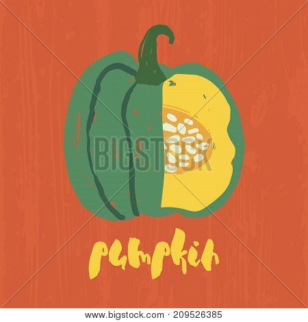 Decorative poster with cute handdrawn pumpkin. Hand painted messy green vegetable in section and yellow lettering on grungy orange background. Vector design for halloween, thanksgiving, autumn card