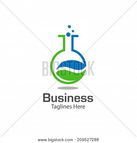 lab logo with leaf symbol, colored test tube with fresh green leaf, bio lab log vector