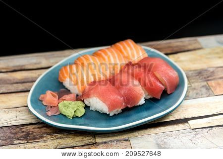 fresh sushi traditional japanese food on the table