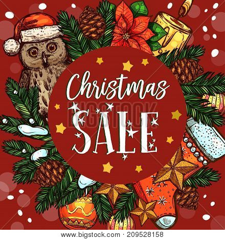 Christmas holiday sale banner with Xmas wreath. Pine and fir branch, ball and star, candle, snowflake, owl with Santa hat and sock, poinsettia flower and pinecone for discount offer promotion design
