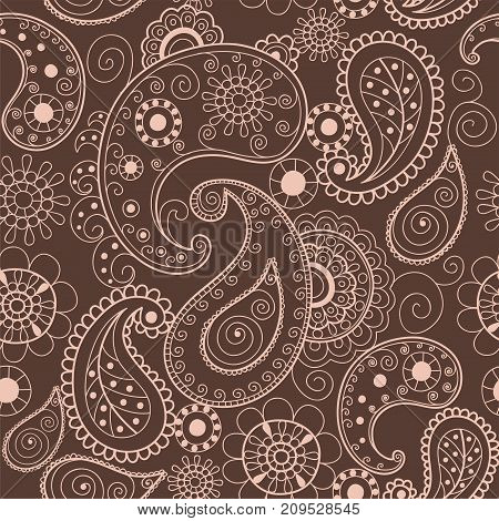Floral brown mehendi pattern ornament vector illustration hand drawn henna asian textile style india tribal paisley ornate. Ethnic ornamental lace vintage mandala abstract textile