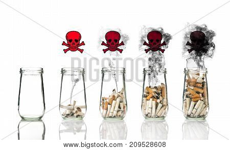 Cigarette butt in bottle with smoke Burning the life to be skull with crossbones world no tobacco day, 3D illustration