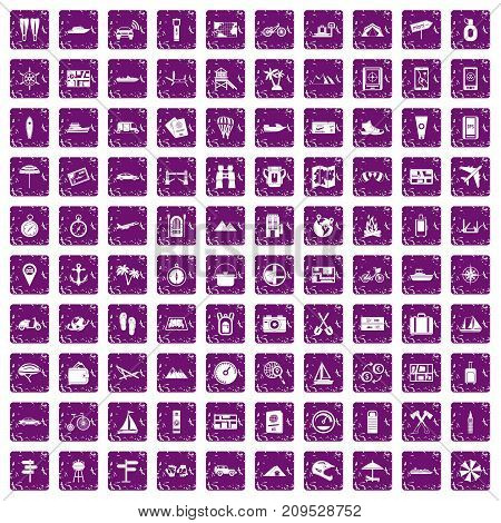 100 travel icons set in grunge style purple color isolated on white background vector illustration