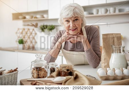 Baking with enjoyment. Portrait of excited senior lady is smiling and looking at camera with happiness. She is standing in kitchen near sweet food