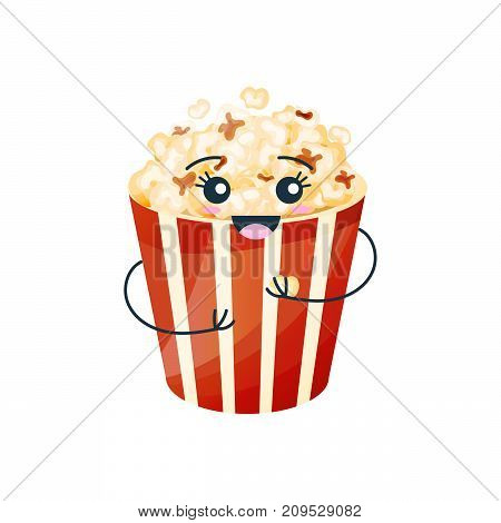 Funny character of delicious dishes from fast food. Funny glassful with delicious popcorn, air fried corn, with a face and a smile, hands. Modern vector illustration fast food isolated.