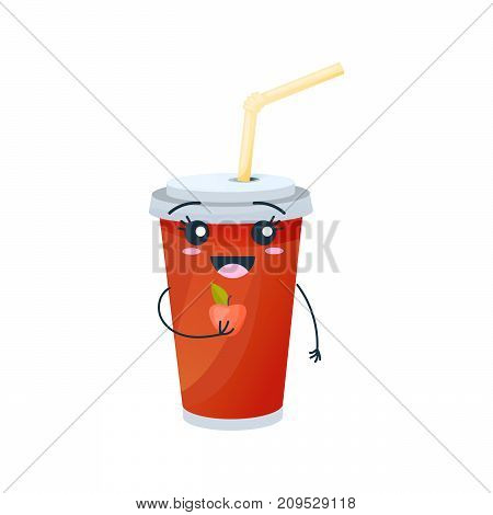 Funny character of delicious drinks from fast food. Merry, funny glassful with sweet, carbonated drink, with straw, with face and smile, with apple in hand. Modern vector illustration fast food isolated.