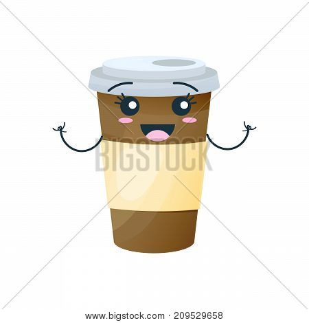 Funny character of delicious drinks from fast food. Merry, funny glassful with sturdy sweet black coffee, with face and smile. Modern vector illustration isolated.