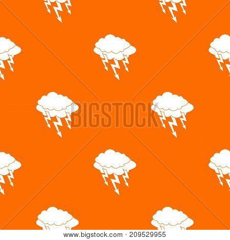 Lightning bolt pattern repeat seamless in orange color for any design. Vector geometric illustration