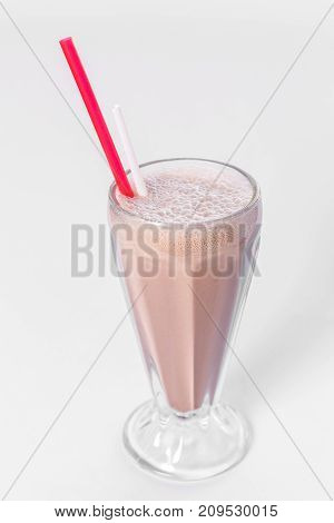 cup of milk shake on a white background