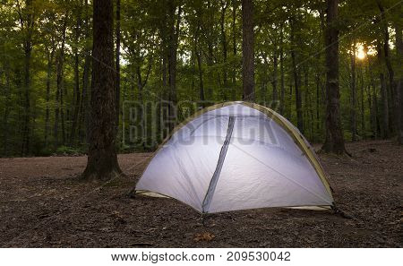 Backpacking tent as the sun goes down on Uwharrie National Forest
