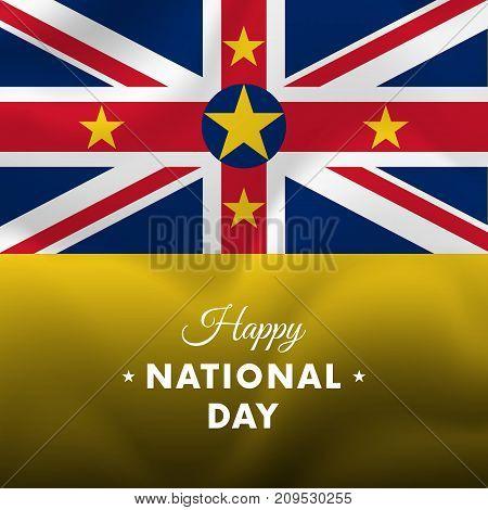 Banner or poster of Niue National Day celebration. Waving flag. Vector illustration.