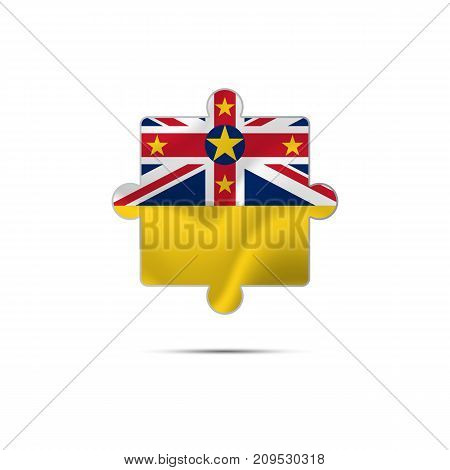 Isolated piece of puzzle with the Niue flag. Vector illustration.