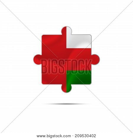 Isolated piece of puzzle with the Oman flag. Vector illustration.