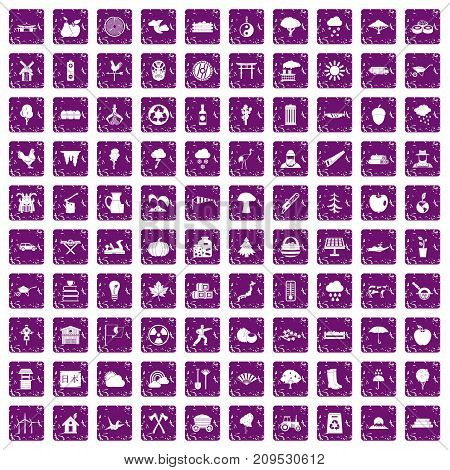 100 tree icons set in grunge style purple color isolated on white background vector illustration