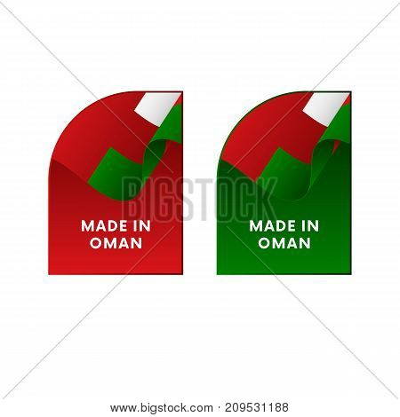 Stickers Made in Oman. Waving flag. Vector illustration.