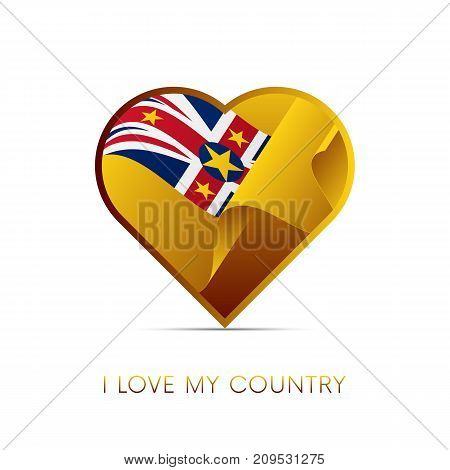 Niue flag in heart. I love my country. Sign. Vector illustration.