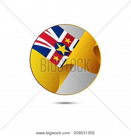 Niue flag button with shadow on a white background. Vector illustration.