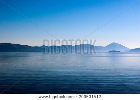 Scenic View Of The Mountains And Lake Prespa With Island Golem Grad , Macedonia