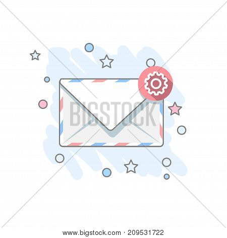 Flat message icon. Colored Vector illustration. Mail settings