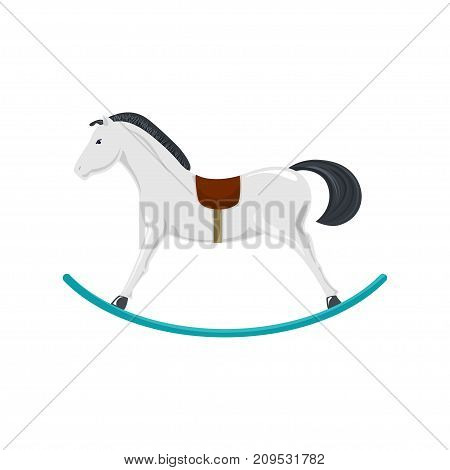 Rocking Horse Isolated on White Background Merry Christmas and Happy New Year Christmas Decorations