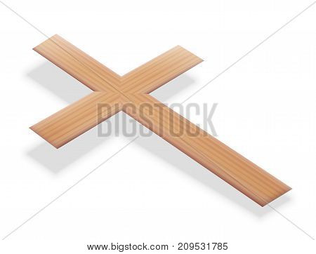 Christian cross floating just above the ground - isolated 3d vector illustration on white background.