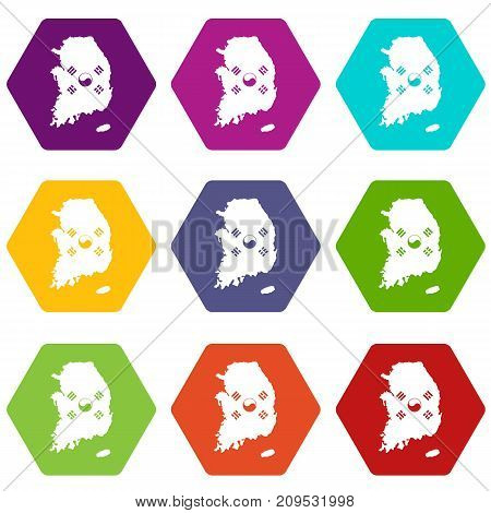 South Korea map with national flag icon set many color hexahedron isolated on white vector illustration